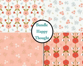 4 prints, Happy Thoughts, flowers, white, peach, tandoori, Camelot Fabrics, Bundle, 1 of each print, 100% coton