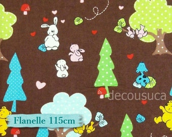 Flannel, Rabbit, bear, bird, tree, brown, many yards will be cut as one continuous piece, Flannel 100% high quality cotton