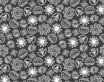 Flower, white, Carbon, 30180406, col 01, Camelot Fabrics, cotton, cotton quilt, cotton designer