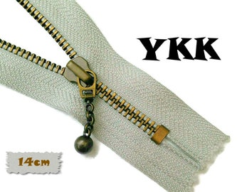 YKK, 14cm, Taupe, Zipper, Cursor M, Taupe, 5 1/2 Inch, Metal Slider, Zipper, Non-Detachable, vintage, 1980, ZZ1
