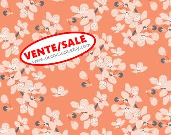 SALE, Flower, orange, 29190102, col 01, Black Swan, Camelot Fabrics, 100% Cotton, (Reg 3.76-21.91)