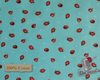 Ladybug, aqua, background, Poppy Perfection, Janes's Garden, Henry Glass & Co, multiple quantity cut in 1 piece, 100% Cotton