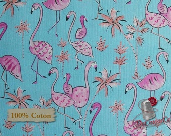 Flamingo, spring, Free Spirit, multiple quantity cut in one piece, 100% Cotton