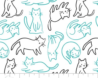 Cat, Meow, 21170101_3, Turquoise, Black, Camelot Fabrics, multiple quantity cut in one piece, 100% Cotton
