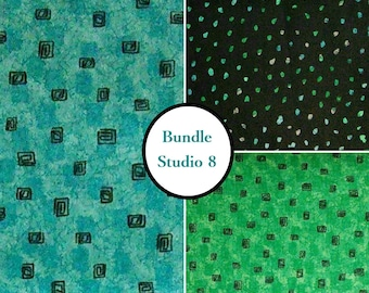 3 prints, 1 of each, Studio 8, black, turquoise, green, Quilting Treasures, 100% Cotton