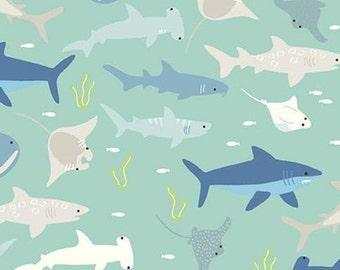 Sharks, Mint, Riptide, 10300, Riley Blake, cotton quilt, cotton designer, (Reg 3.76-21.91)