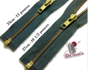 YKK, Gray blue-jeans, fermeture éclair détachable, 33cm (13 po), et , 27cm, (10 1/2po) maille gold antique, no5, ZZ2