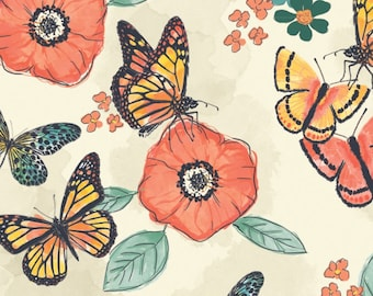 Flower, butterfly, Monarch Grove, 26170503, col 01, 100% Cotton