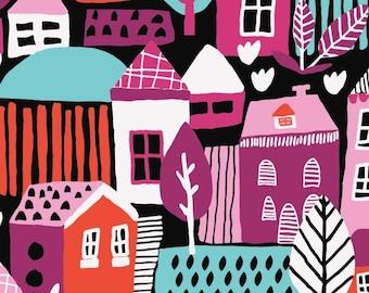 Neighbourhood in Black, 31170101, col 03, Neighbourhood, Camelot Fabrics, 100% Cotton