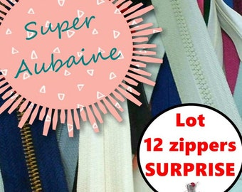 Kit 12 Zippers, Large slider, invisible, resistant, varied color & size, nylon, perfect for wallets, clothing, repair, creation,(Reg 30.00)