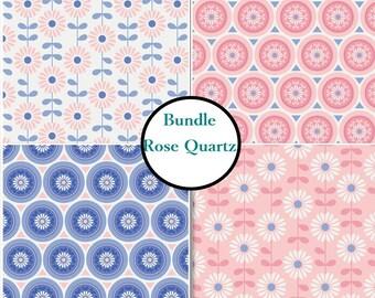 4 prints, Rose Quartz, flower, Camelot Fabrics, Bundle, 1 of each print, 100% coton
