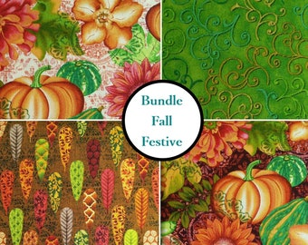 4 prints, Pumpkin, leaf, flowers, Fall Festival, Studio E, bundle, 1 of each print, 100% Cotton