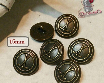 6 Buttons Golf, 15mm, metal button, sport button, vintage, BM124 , (Reg 6.00)