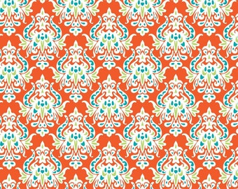 Damask, orange, turquoise, Boho Damask, Patrick Lose, 100% Cotton