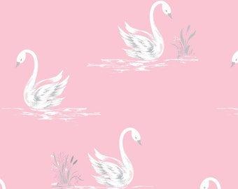Swans, White, Pink, The Grace, Laura Ashley, 71170302, 02, Camelot Fabrics, cotton, cotton quilt, cotton designer