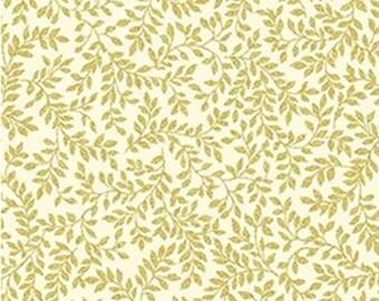 Leaf, Gold metallic, ivory, Metallic Mixers, Benartex, 7726M, cotton, cotton quilt, cotton designer