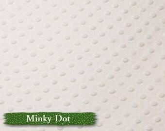 Minky Dot, White, 100% polyester, 60 inch, 150cm,