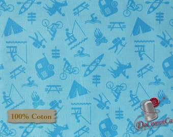 Camping, blue, Happy Camper, by City Art Studio, 1338, Henry Glass & Co, multiple quantity cut in 1 piece, 100% Cotton