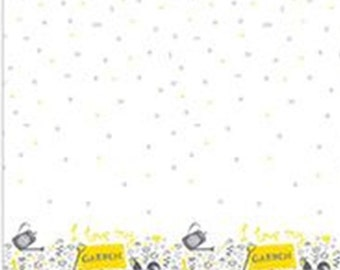 Village Life Border, grey, yellow, white, Village Life, 301801079, Camelot Fabrics, 100% Cotton