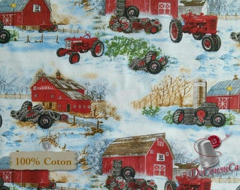 Tractor, 10185, Sykel Entreprises, multiple quantity cut in one piece, 100% Cotton,