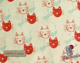 Meow, Cat, red, white, multiple quantity cut in one piece, 100% Cotton