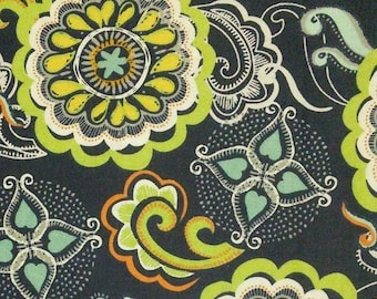 Big Flower, green, navy, Édition Fabric, multiple quantity cut in one piece, 100% Cotton