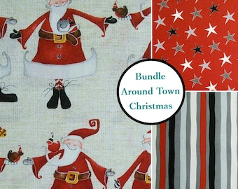 Kit 3 prints, Around Town Christmas, Studio E, Bundle, 1 of each print, 100% coton
