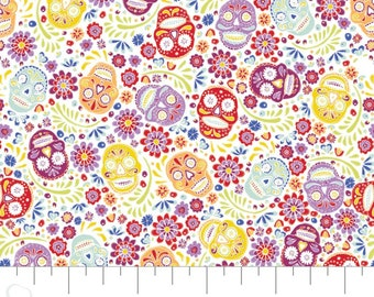 Fabric skull, 100% coton, #30200401, WHITE - Eternally Yours of Camelot Fabrics