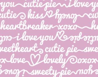 White writing, pink background, XOXO, 21190704, col 03, Camelot Fabrics, cotton, cotton quilt, cotton designer