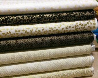 SALE, Bundle of 7 prints, Fabric gord, black and ivory, Bundle, 1 of each print, (Reg 26.53-136.43)