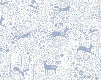 Flowers, Wolf, Hare, Roe Deer, Meadow Wildlife, 30190401, col 05, Camelot Fabrics, cotton quilt, cotton designer