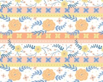 SALE, Strip, Flowers, orange, blue, Do what you love, 2241502, col 01, Camelot Fabrics, cotton, cotton quilt, (Reg 3.76-21.91)