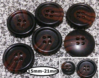 6 buttons, 15 mm and 21mm, Shade ACAJOU BROWN, button 4 holes, BTN 92