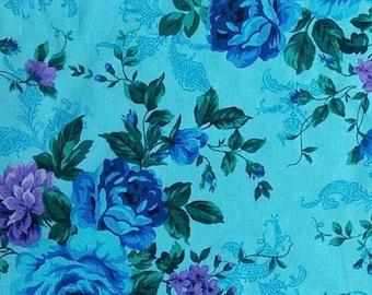 Flower, violet, blue, turquoise, Tapestry, 4185, Timeless Treasures, cotton, cotton quilt, cotton designer