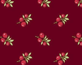 VENTE, Fabric, Cotton, Cranberry, red, Winter Rose, 9420, Andover, (Reg 3.76-21.91)