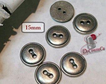 6 buttons, Basic Silver, 15 mm, metal, silver, basic button, sound button, BM129