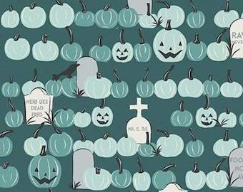 Pumpkin, Halloween, TEAL, #10576, fabric, cotton, quilt cotton- Spooky Hallow de Riley Blake