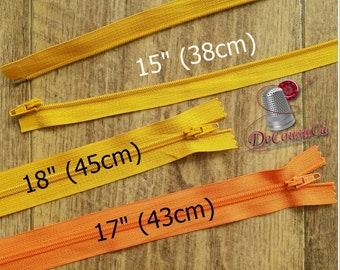 "Zipper, DETACHABLE, 15""-18"", (38cm - 45cm), zipper, yellow gold, orange, nylon, for clothing, repair, Z15-18"