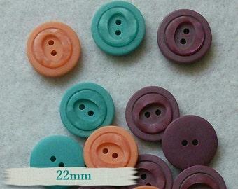 2 buttons, 22mm, 2 holes, mandarine, malachite, orchidée, BM51