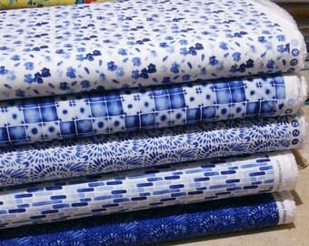 Bundle, 5 prints, Classic Blue of Camelot Fabrics, Quilt cotton