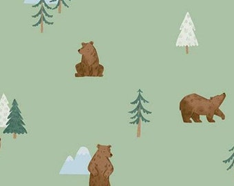 Fabric bear pattern 100% cotton, #10461 PISTACHIO, variable sizes - Camp Woodland of Riley Blake