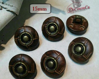 6 Buttons, leather brown and bronze, 15mm, rod metal button, sport button, vintage, BM149