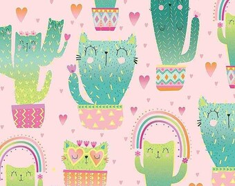 Kitty Cactus Quirky, 8237, Timeless Treasures, cotton, cotton quilt, cotton designer