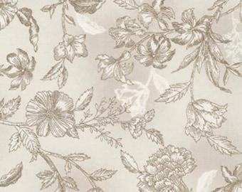 Flower, beige, 7293, Timeless Treasures, cotton, cotton quilt, cotton designer