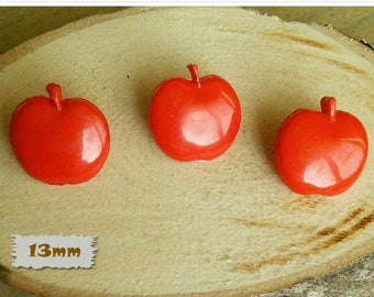 3 Buttons, 13mm, Apple, Red, plastic, Vintage, 1980, GR04