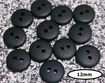 12 Buttons, 12mm, BLACK, 2 holes, Vintage, resin, BTN 20A