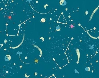 Glow in the dark, Halloween Fabric- TEAL, Tiny Treaters, 10485, Riley Blake, fabric, cotton, quilt cotton