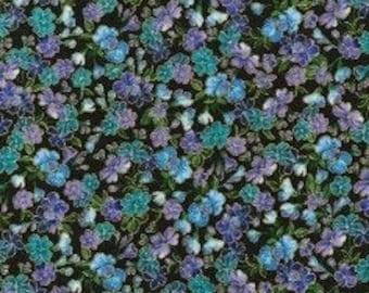 Flowers blues, iridescent, black, 5876, Timeless Treasures, cotton quilt, cotton designer