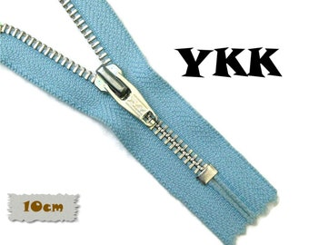 YKK, 10cm, Light Blue, Zipper, Cursor 5, 4 Inch, Metal Slider, Zipper, Non-Detachable, vintage, 1980, Z16