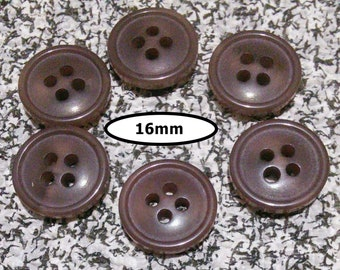6 Buttons, 16mm, SHADE MARRON, button vintage, BTN 95